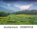 Stock photo cresta di enghe mountain range at foggy summer morning dolomites mountains italy europe 350809928