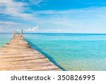 jetty to the blue contemplating ... | Shutterstock . vector #350826995