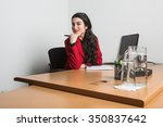 young beautiful business woman... | Shutterstock . vector #350837642