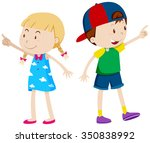 girl pointing left and boy... | Shutterstock .eps vector #350838992