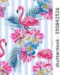 pink flamingos  tropical... | Shutterstock .eps vector #350842526