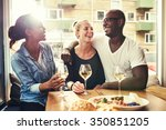 multi racial couple out dining... | Shutterstock . vector #350851205