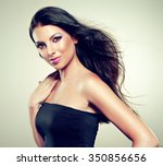 beautiful brunette with long... | Shutterstock . vector #350856656