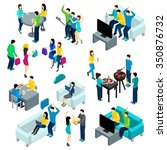 friends isometric set with... | Shutterstock .eps vector #350876732