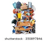 mess  dresser with scattered... | Shutterstock . vector #350897846
