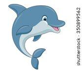 cute cartoon dolphin. vector... | Shutterstock .eps vector #350899562