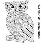 decorative owl. adult... | Shutterstock .eps vector #350902196