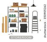 storeroom with metal storage.... | Shutterstock .eps vector #350905262