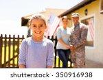 adorable little girl standing... | Shutterstock . vector #350916938