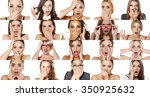 collage of portraits of various ... | Shutterstock . vector #350925632