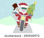retro santa claus on motorcycle ... | Shutterstock .eps vector #350930972