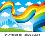 rainbow and clouds in the blue...   Shutterstock .eps vector #350936696