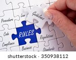 rules business concept puzzle... | Shutterstock . vector #350938112
