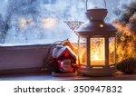 christmas window lantern with... | Shutterstock . vector #350947832