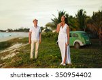stylish couple standing on the...   Shutterstock . vector #350954402