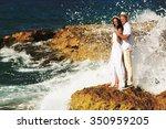 wedding couple standing near... | Shutterstock . vector #350959205