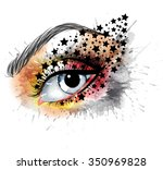 grunge eye with stars  makeup... | Shutterstock . vector #350969828