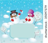 xmas card with snowman | Shutterstock .eps vector #35097379