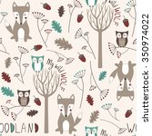 Cute Woodland Seamless Pattern...