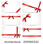 gift card set with red ribbon... | Shutterstock .eps vector #350985332