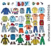 boy fashion costumes set.baby... | Shutterstock .eps vector #350994536