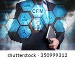 businessman pressing button on...   Shutterstock . vector #350999312