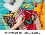 fashion dressmaker working... | Shutterstock . vector #351013052