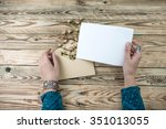 woman hands holding the letter... | Shutterstock . vector #351013055
