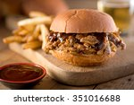a delicious pulled pork... | Shutterstock . vector #351016688