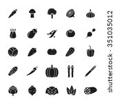 solid black vegetable icons... | Shutterstock .eps vector #351035012