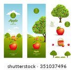 apple juice packaging design... | Shutterstock .eps vector #351037496