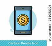 cell phone doodle | Shutterstock .eps vector #351053306
