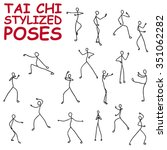 t'ai chi poses set. simple... | Shutterstock .eps vector #351062282