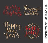 set of hand calligraphic and... | Shutterstock .eps vector #351065948
