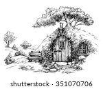 a dwarf house in the woods... | Shutterstock .eps vector #351070706