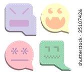 Pastel vector digital ghost icons.  Designed to look like speech or thought bubbles, as expressions of thoughts or emotions. - stock vector