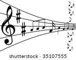music notes background | Shutterstock .eps vector #35107555