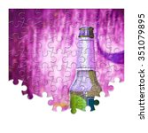puzzle of a bottle of beer... | Shutterstock . vector #351079895