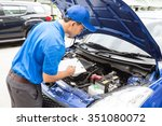 mechanic man holding clipboard... | Shutterstock . vector #351080072