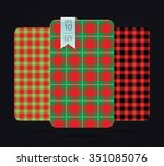 christmas gingham patterns and... | Shutterstock .eps vector #351085076