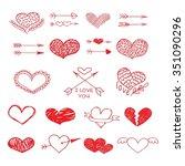 love red heart and arrow vector ...   Shutterstock .eps vector #351090296