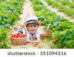 happy funny little kid boy... | Shutterstock . vector #351094316