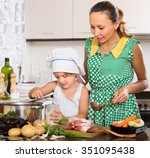 happy woman with little girl in ... | Shutterstock . vector #351095438