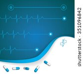 abstract medical cardiology ekg ... | Shutterstock . vector #351096842
