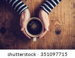 lonely woman drinking coffee in ... | Shutterstock . vector #351097715