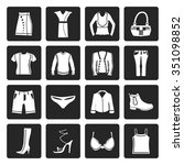 black clothing and dress icons  ...   Shutterstock .eps vector #351098852
