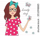 beauty girl with butterfly... | Shutterstock .eps vector #351098885
