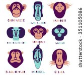vector icon set. monkey... | Shutterstock .eps vector #351105086