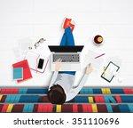 vector top view of young man...   Shutterstock .eps vector #351110696