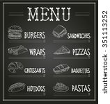 chalkboard menu template.... | Shutterstock .eps vector #351113252